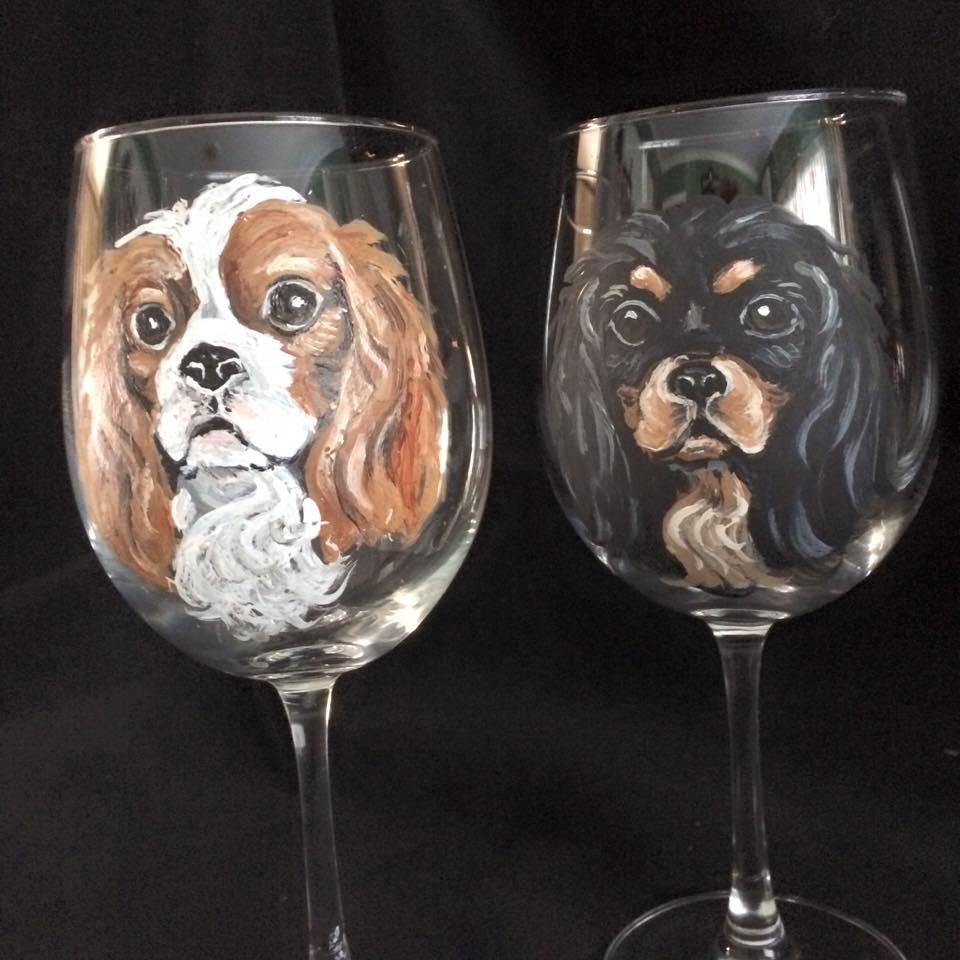 Favorite Custom Hand Painted Wine Glasses Showcase Your Pet AE13